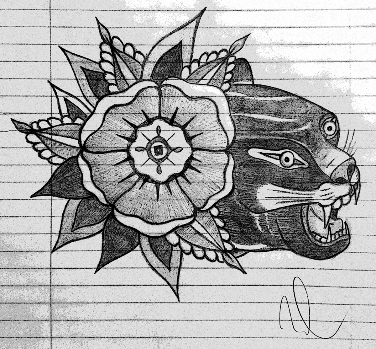 Pencil sketch of a panther with flower tattoo by Noah Watson