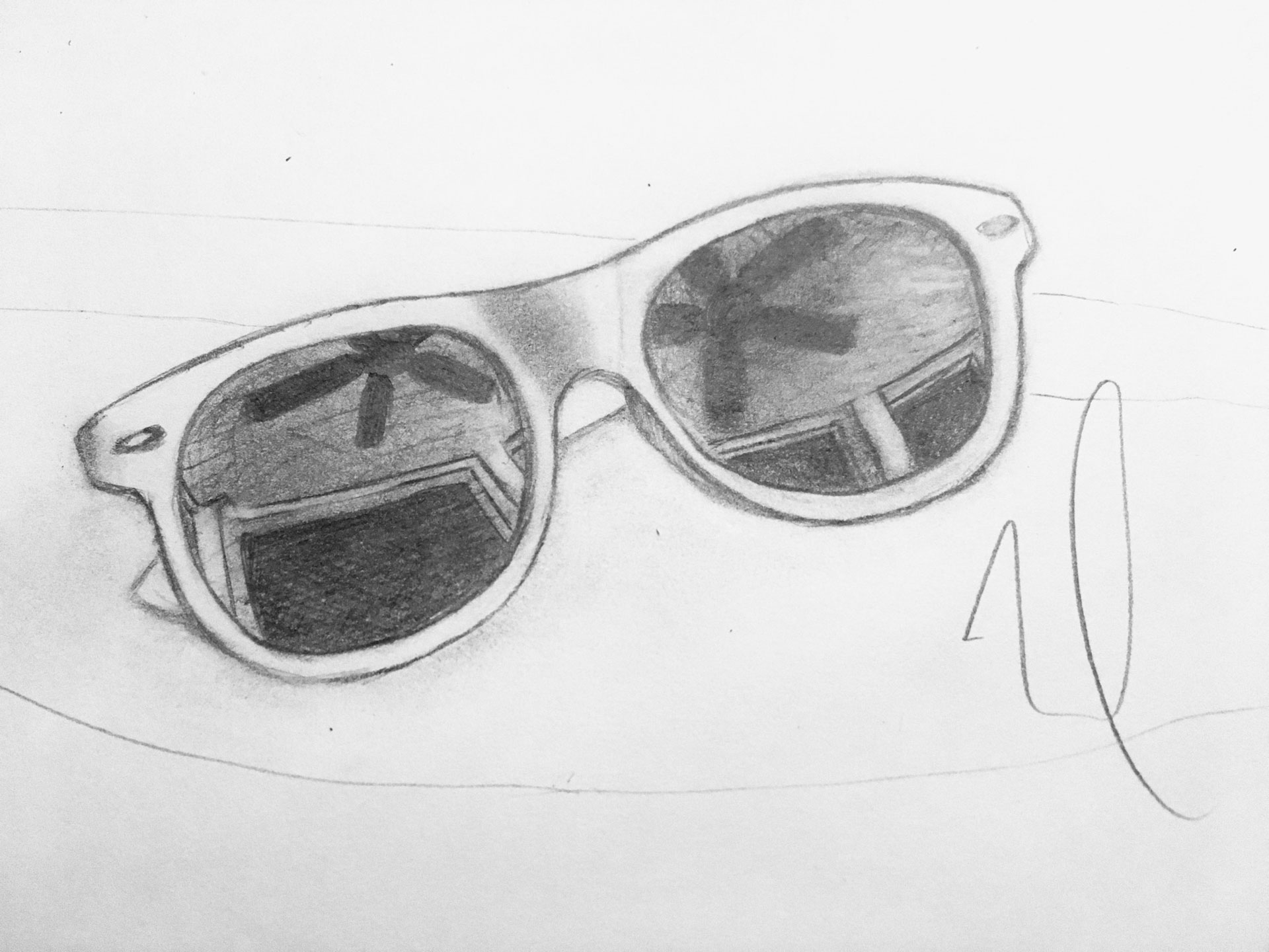 Pencil sketch of Rayban Wayfairers by Noah Watson